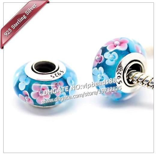 S925 gioielli fatti a mano in argento sterling blu rosa perline in vetro di murano floreale adatto europeo fai da te pandora braccialetti con ciondoli collana 010