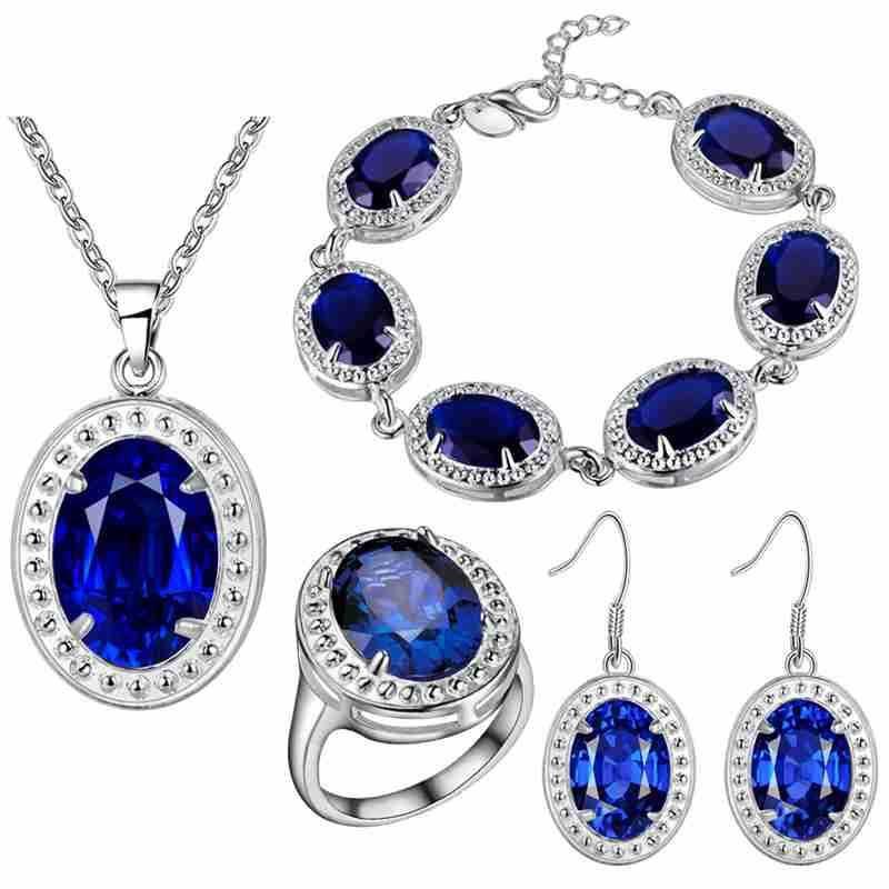 Una spessa argentatura gioielli nuova moda multicolore gioielli commercio all'ingrosso vestito Xian bella pietra blu