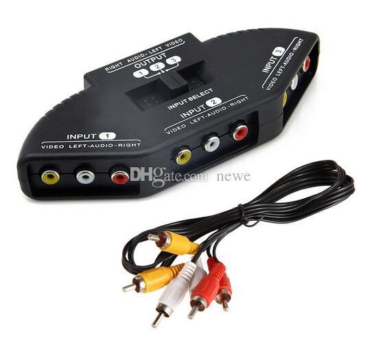 Hot Popular High Quality Selector 3 Ports Video Switcher Game AV Signal Switch Cable AV RCA AV Splitter Audio Converter for XBOX for PS TV