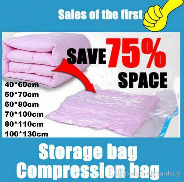Navio livre 5 pcs Impresso Vacuum Compressed Compression Bag Saco De Armazenamento Dobrável Salvando Espaço Seal Sacos de Roupas de Viagem Organizador Saco