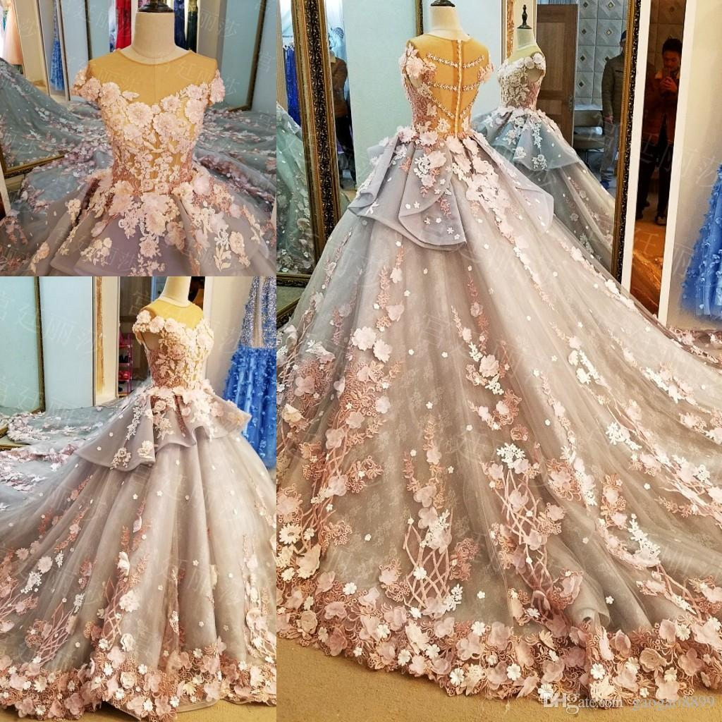 Vintage Handmade Flower Modest Ball Gown Wedding Dresses with Sleeves 2019 Illusion Neck Cathedral Train Princess Garden Wedding Bridal Gown