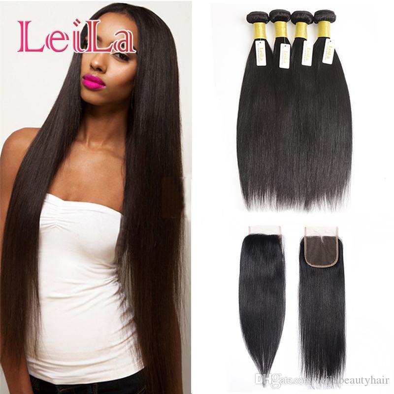 Malaysianes glattes Haar für Schönheit 4 Bündel mit Spitzenverschluss seidig unverarbeitete menschliche Haare 5pieces / lot für volles haare