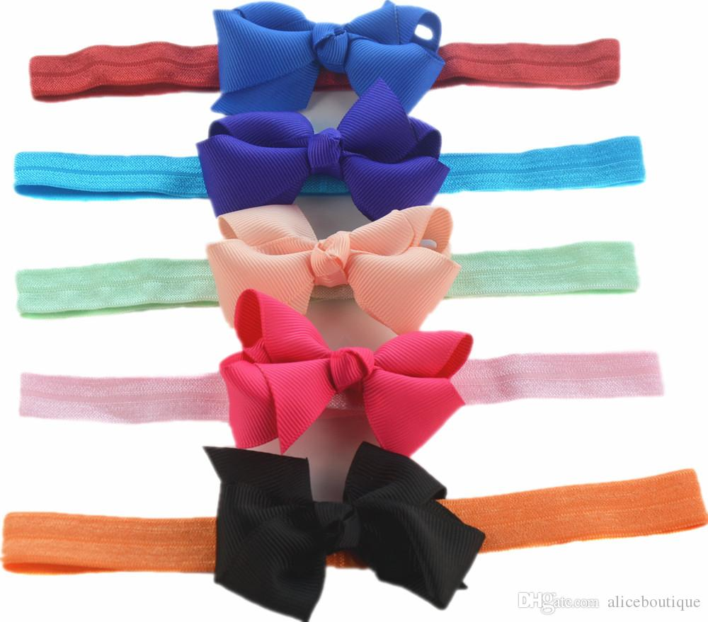 free shipping 50pcs/lot Lovely Elastic Headband with 2.76Inch Grosgrain Ribbon Bow Bowknot Classic Girl Headwear DIY Boutique on Sale FD236