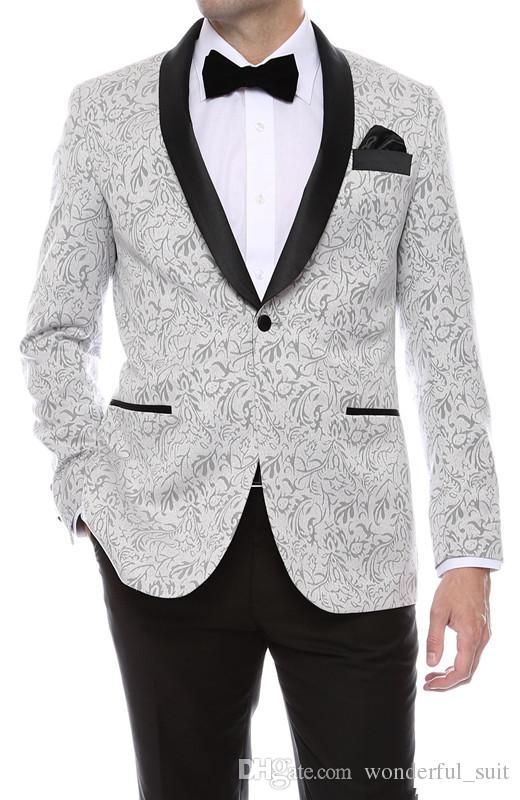 Gramercy Mens Silver Tapestry Super Slim Fit Groom Tuxedos 2016 Side Groomsmen Mens Wedding Prom Suits Custom Made (Jacket+Pants+Tie