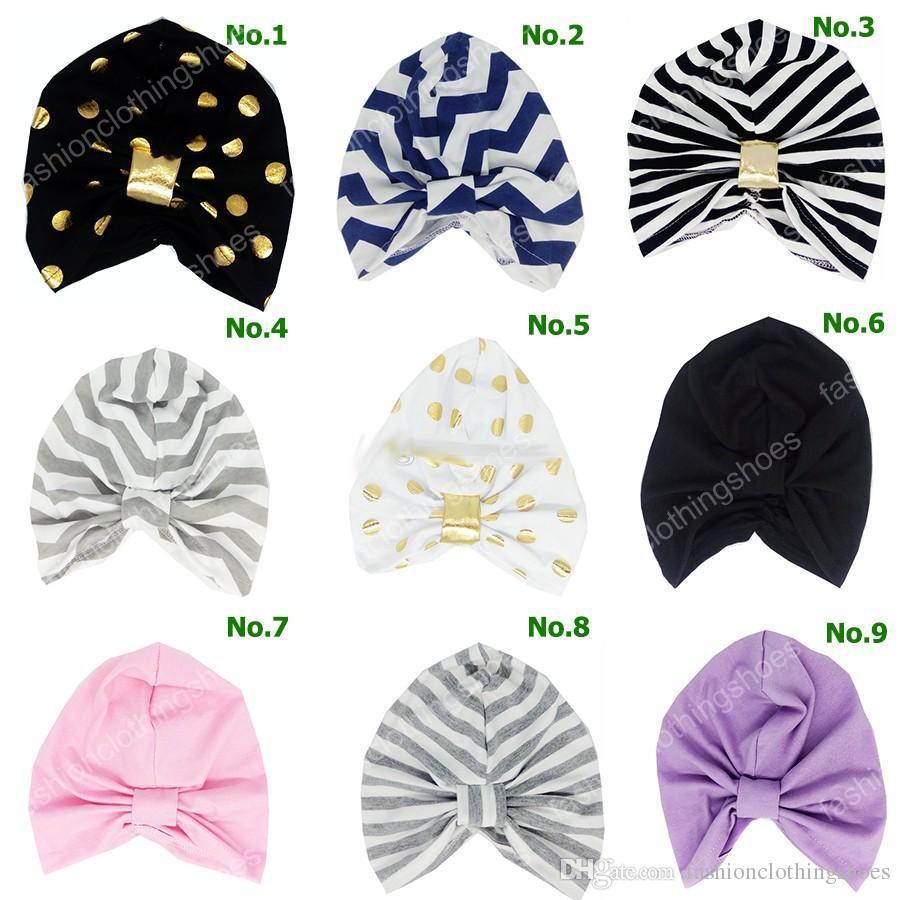 INS Baby Chevron Gold Dot Hat Детские шапки для мальчиков и девочек Осень Зима Детские шапки Детские шапочкиТурбанские шапочки 0-6лет 19цвет выбрать