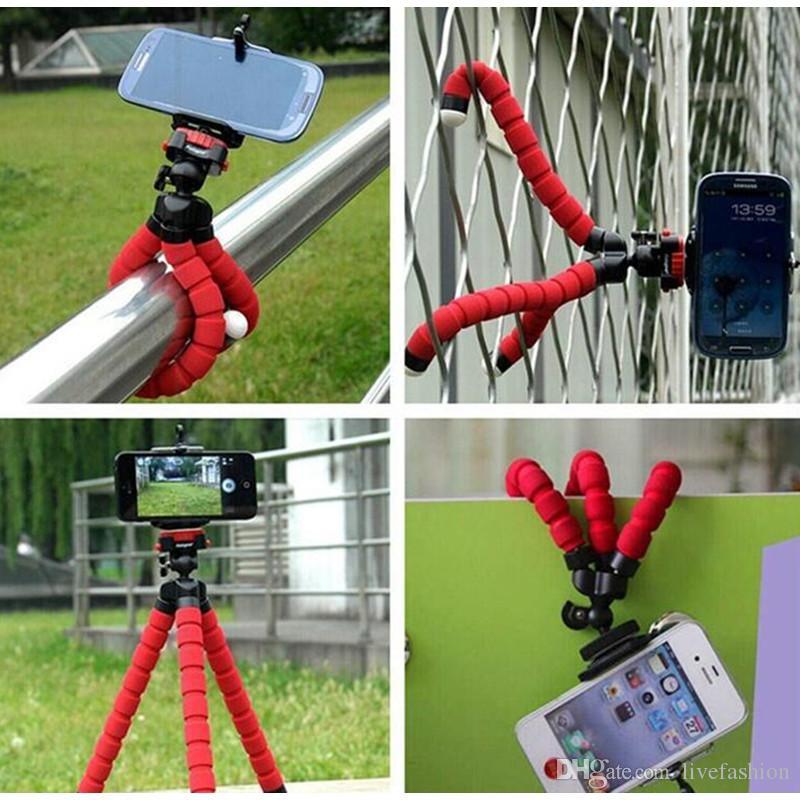Soporte para coche de montaje en teléfono móvil Soporte para trípode pulpo flexible Monopie Soporte de espuma ajustable para teléfono inteligente Cámara Universal