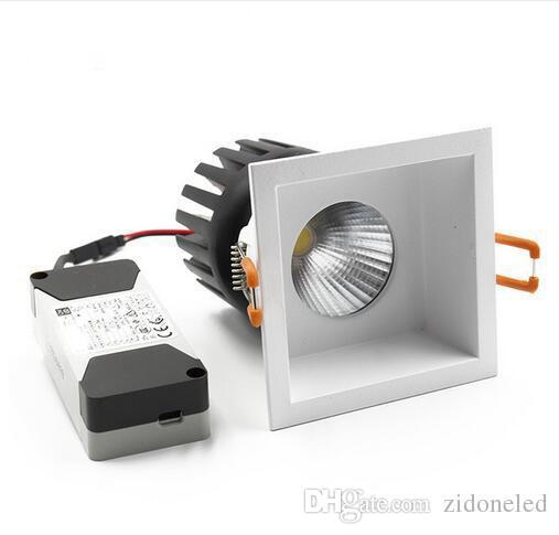 quadratische COB Downlight LED Einbaustrahler auswechselbare Lichtquelle Deckenleuchte Aluminium 110V-240V 6W / 10W / 15W Schnitt Loch 75mm