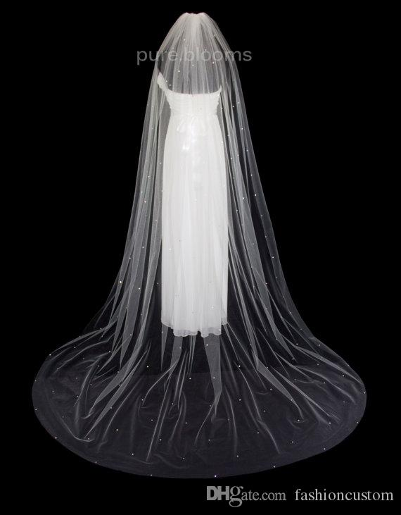 new Sell 3M Rhinestones cut Edge Cathedral White Ivory Wedding Veil Bridal Veils With Comb 1T