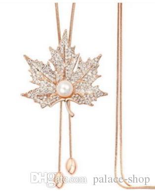 2 pcs wonderful diamond inlay pearl leaf pendant chain necklace 168re