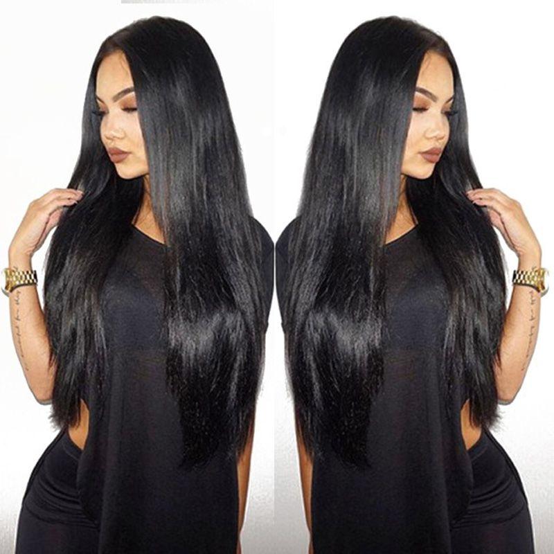 10a رخيصة غلويليس كامل الرباط الباروكات للنساء السود اللون الطبيعي البرازيلي الإنسان الشعر الباروكات الحرير مستقيم الإنسان الشعر الباروكات مع شعر الطفل