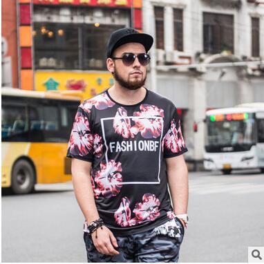 Nueva llegada Verano Tamaño enorme Modal T-shirt Floral Impreso Negro T-shirt Estilo chino de gran tamaño de manga corta camiseta Envío Gratis