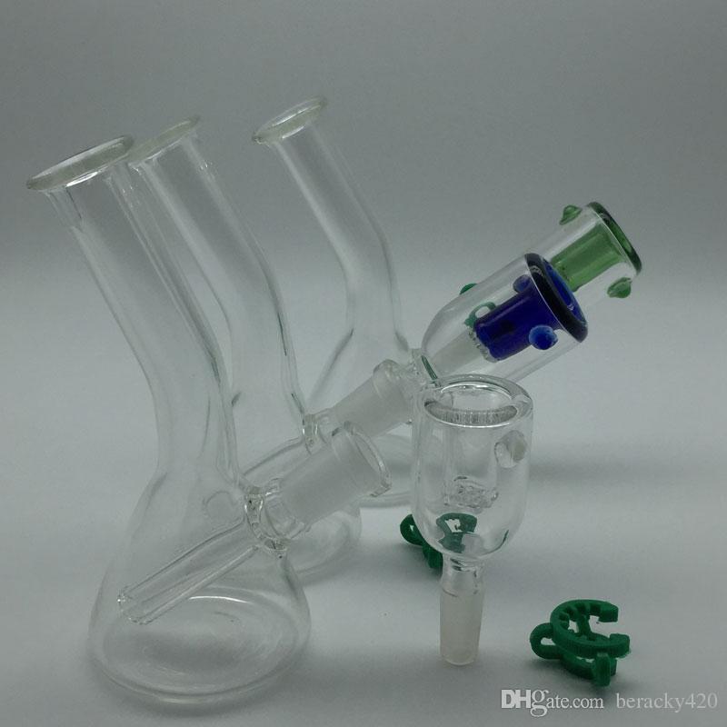"""4 """"pouces Mini Beaker Bongs Avec bol en verre coloré gratuit Keck Clips Oil Rigs Verre Bongs tuyaux d'eau en verre poignée tuyau"""