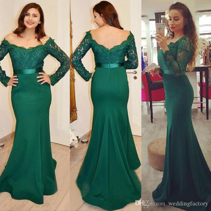 Skromne TEAL Green Formalne Suknie Wieczorowe Off The Ramię Illusion Lace Długie Rękawy Vestidos Festa Syrenki Prom Suknie z szarością