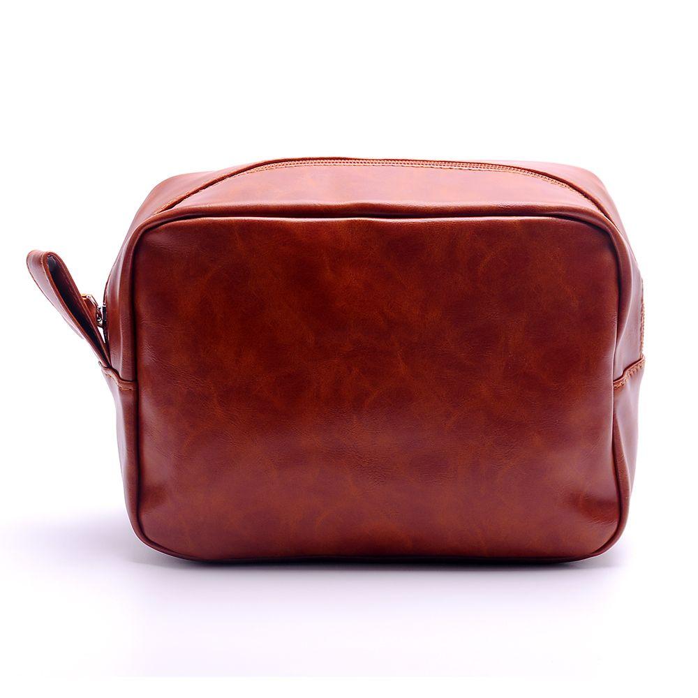 도매 공백 PU 가짜 가죽 신랑 가방 남성 면도 가방 여행 toiltery 파우치 가방 단색 지퍼 메이크업 가방 DOM137