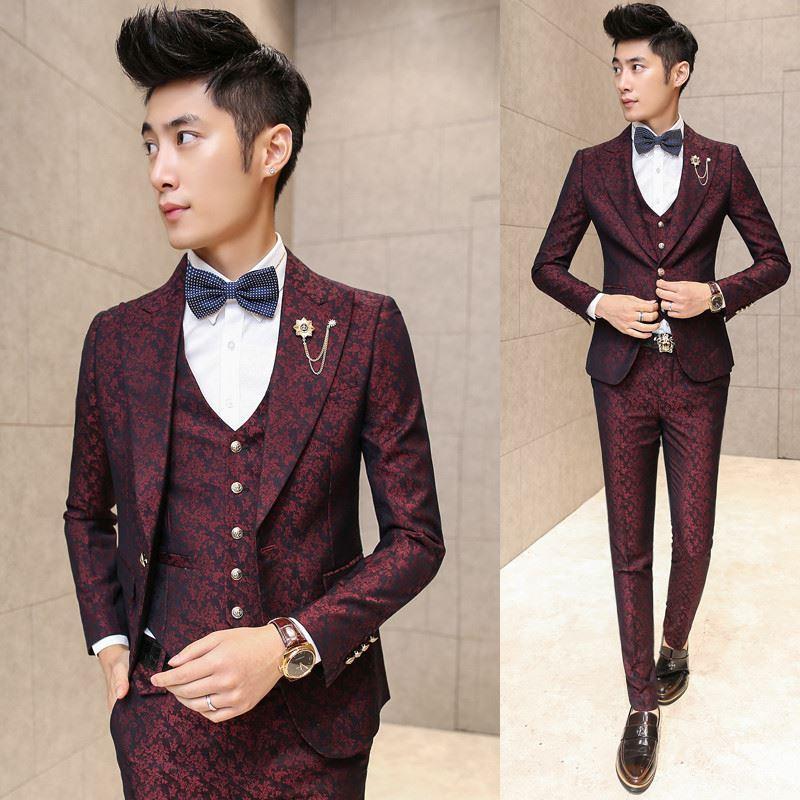 Erkekler için pantolon Kırmızı Çiçek Jakarlı Düğün Suits 3 adet / Set (Ceket + Yelek + Pantolon) Kore Slim Fit Elbise ile Prom Erkekler Suit
