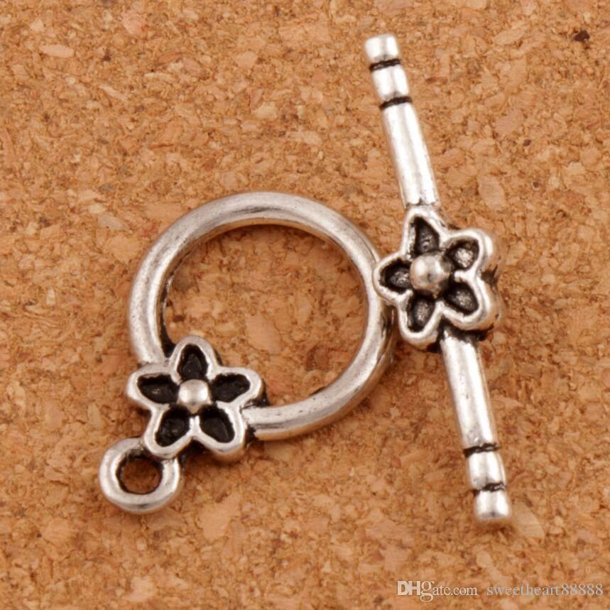 Plommon blomma armband växla lås 100seter / lot antika silver passform armband L847 smycken fakta komponenter lzsilver