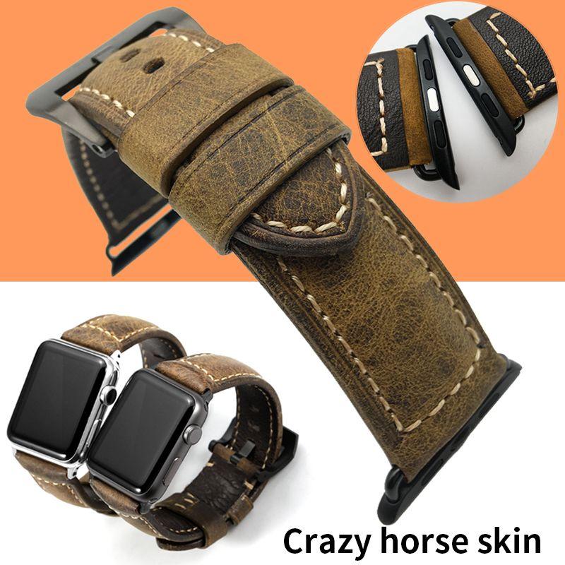 24 мм 26 мм ручной работы итальянский старинные Crazy Horse натуральная кожа часы ремешок ремешок пряжка ремешок для Panerai часы для Apple Watch