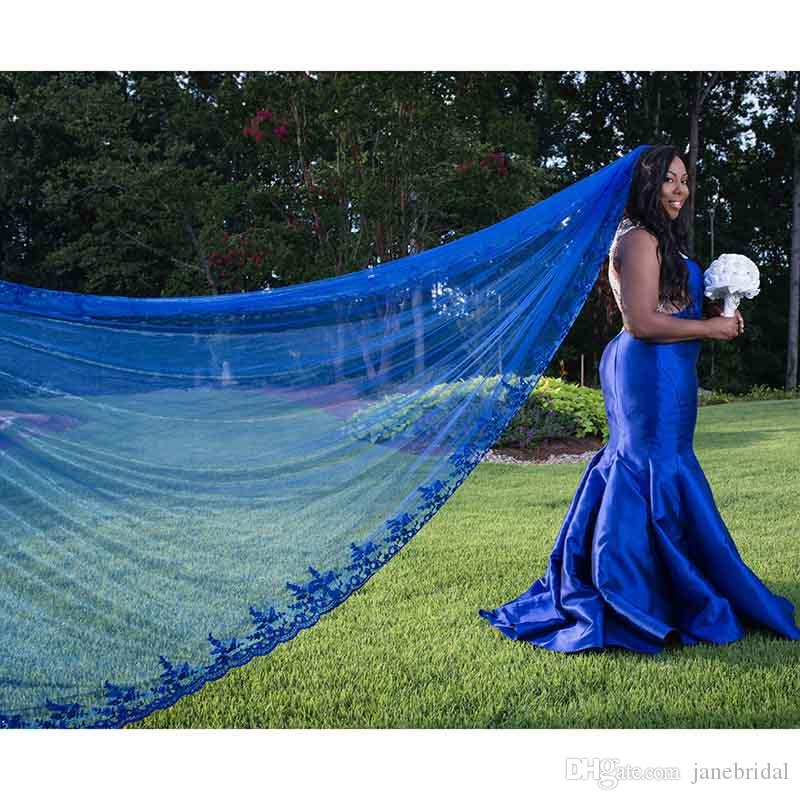 One Layer Sequins Lace Royal Blue Tulle