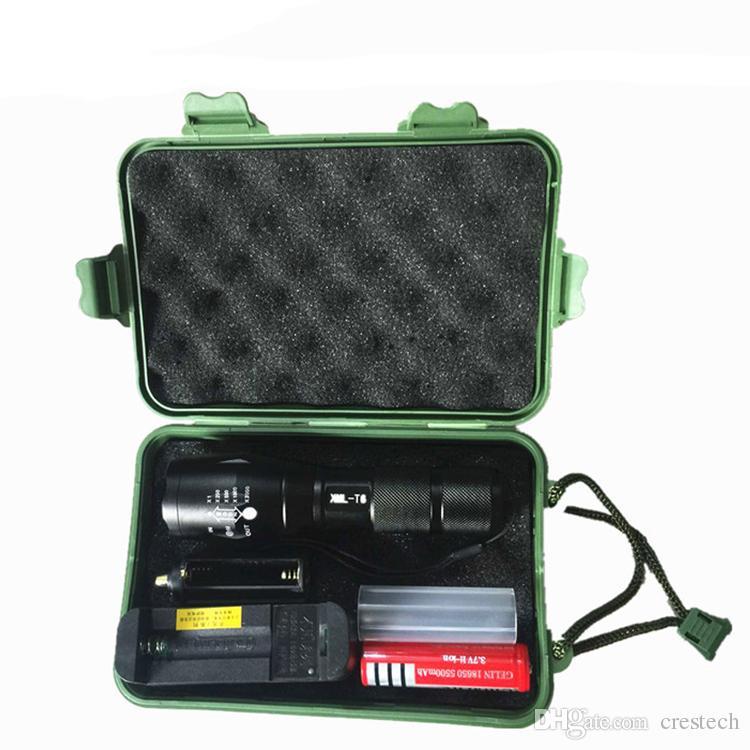 Şarj edilebilir T6 L2 LED Flaş ışığı hediye paketi ile CREE XM-L L2 Alüminyum Su Geçirmez Zumlanabilir Fener led Torch ışık
