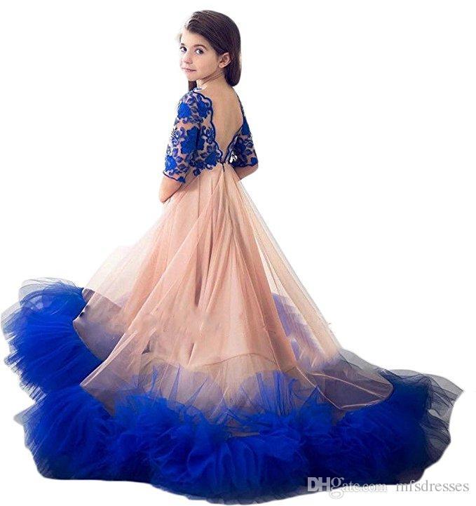 2018 New Princess Blue Lace Girls Vestidos del desfile con tren V Volver medias mangas Junior Girls Vestidos de baile Vestido de fiesta Vestidos de niña de las flores