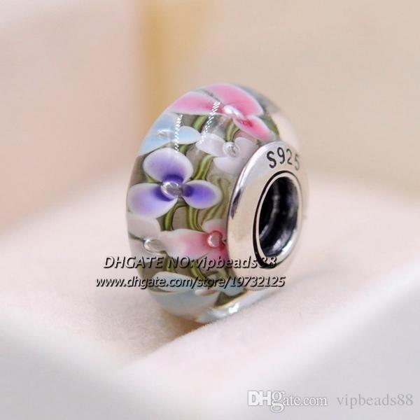S925 gioielli moda in argento sterling fiori colorati charms in vetro di murano perline adatto europeo pandora bracciali fai da te collana 221