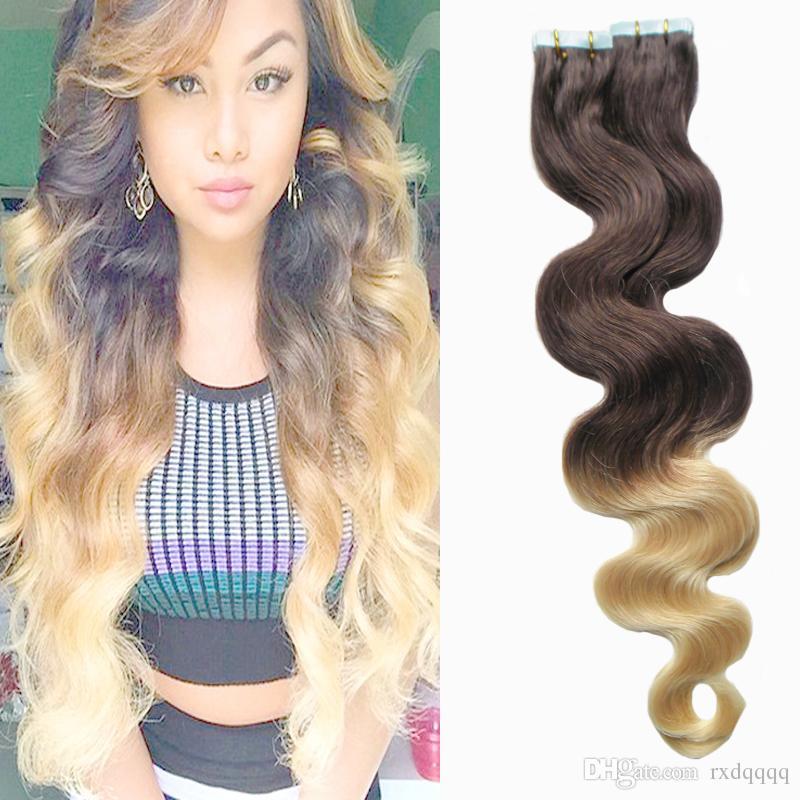 Ombre cheveux brésiliens 100g 40 pcs corps vague # 4/613 vierge brésilienne bande de cheveux dans les extensions de cheveux humains