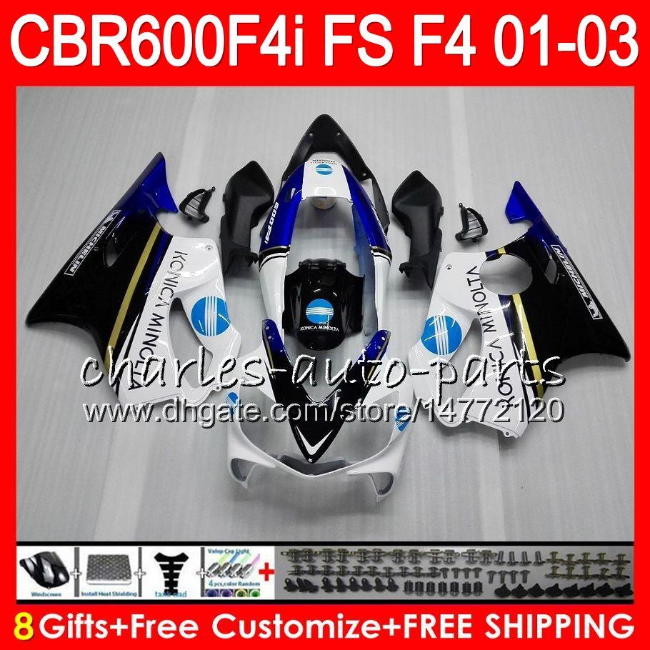 8Gifts 23Colors per HONDA CBR 600 F4i 01-03 CBR600FS FS 28HM26 KONICA blu CBR600 F4i 2001 2002 2003 CBR 600F4i CBR600F4i 01 02 03 Carenatura