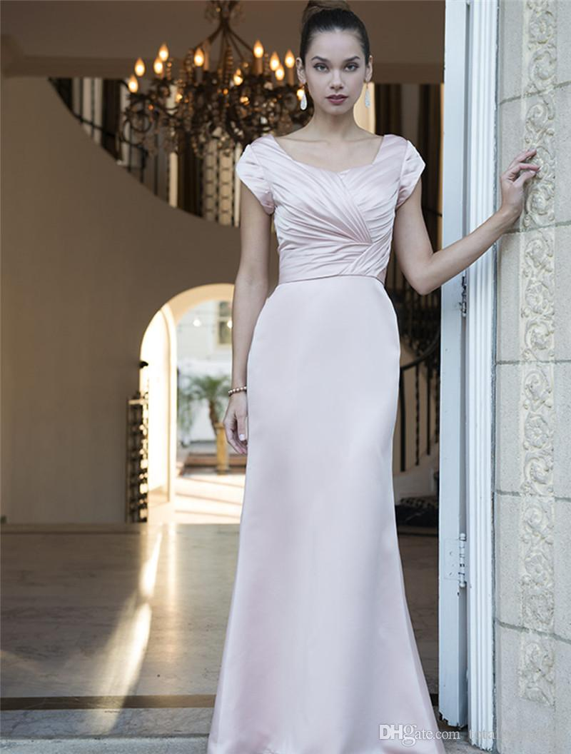 Cheap blushing pink long modest bridesmaid dresses 2017 with short blushing pink long modest bridesmaid dresses 2017 with short sleeves pleats satin winter country bridesmaids dresses ombrellifo Gallery