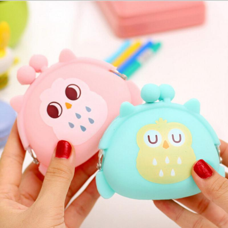 Wholesale- 2017 new silicone cartoon baby coin purse dog cat bear panda duck frog styles many color candy lady wallets girls wallets