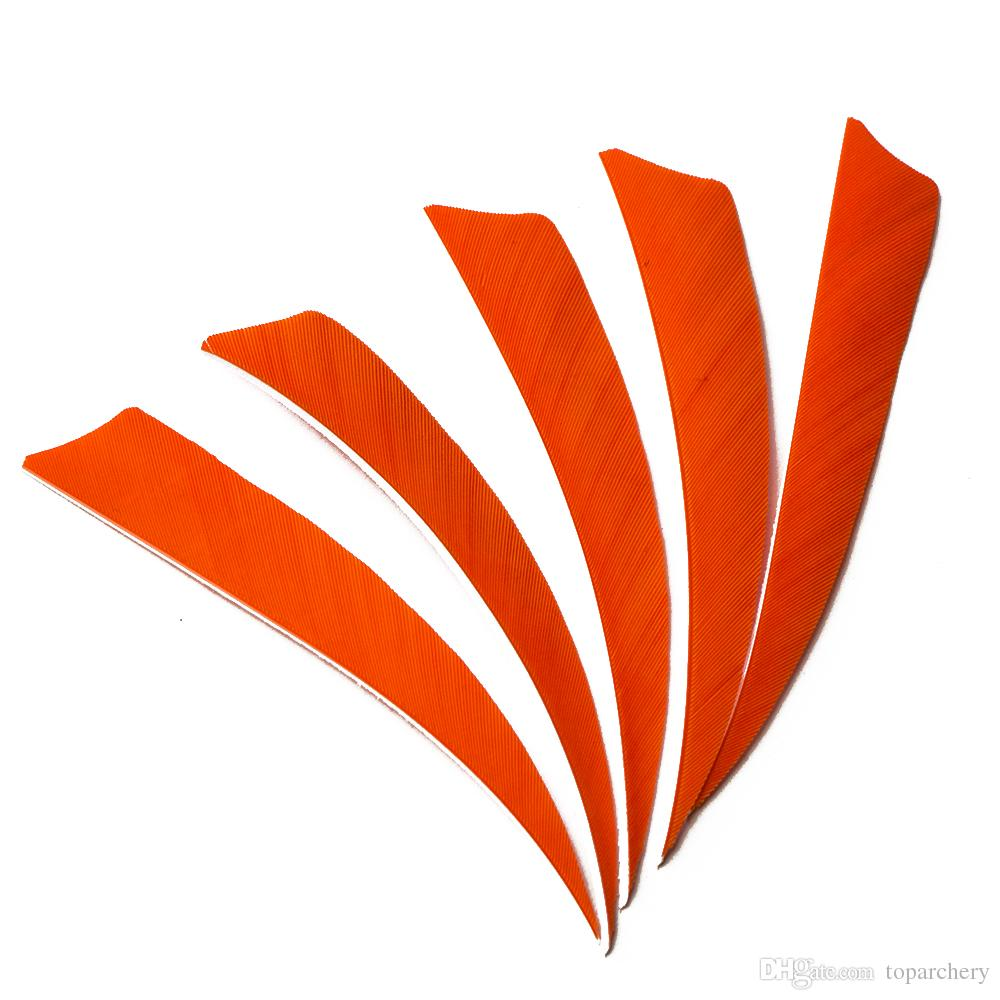 30pcs 4'' Right Wing Feathers for Glass Fiber Bamboo Wood Archery Arrows Hunting and Shooting Shield Orange Fletching