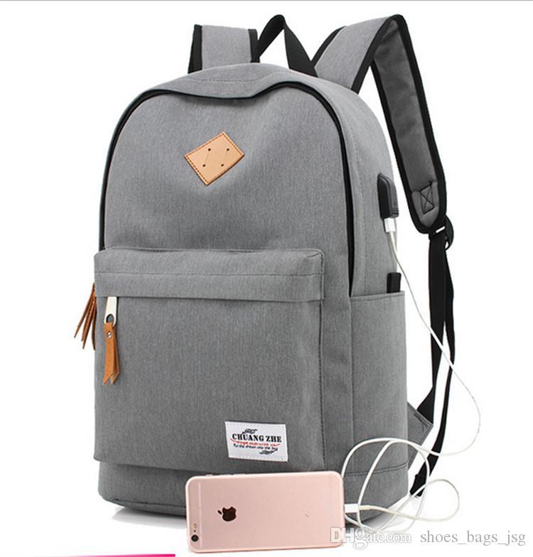 2017 Fashion Men'S Backpacks USB Charge Mochila