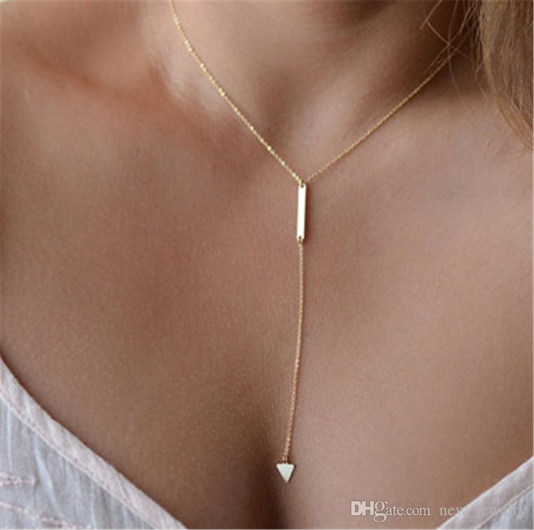 New arrival European and American style Simple metal strip geometric triangle clavicle chain choker snake chain necklaces jewelry wholesale