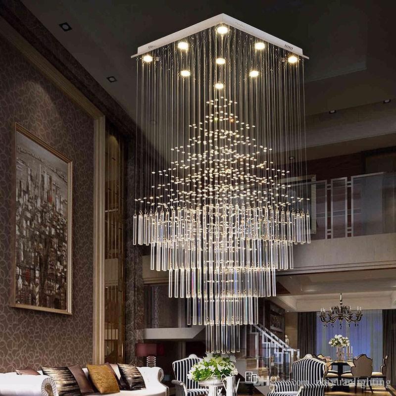 Modern LED Kare Kristal Avize Aydınlatma Raindrop Merdiven Işıklandırma için Villa Otel AVM GU10 Ampul dahil