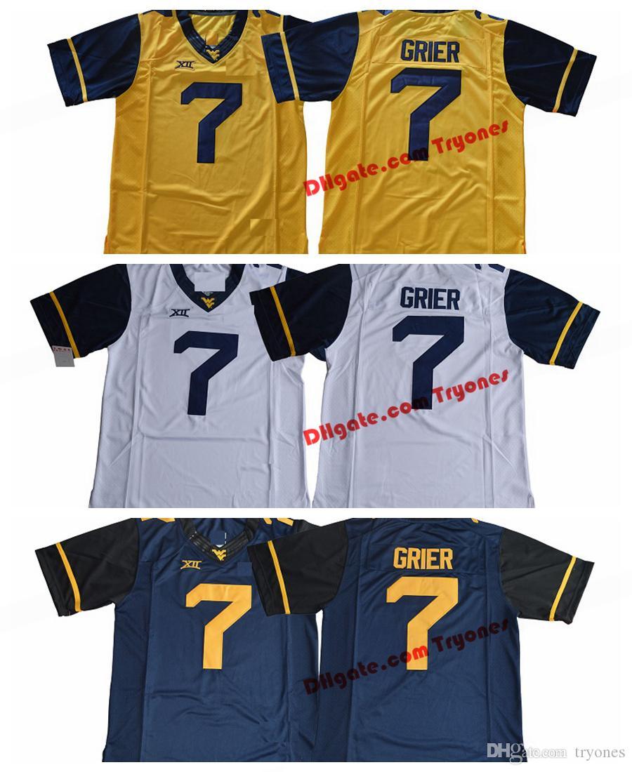 2017 Batı Virginia Dağcılar Will Grier 7 Koleji Futbol Forması Mavi Beyaz Sarı Dikişli Grier Futbol Forması S-XXXL Olacak