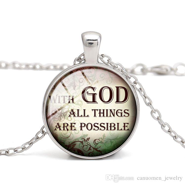 Wholesale Quotes Pendant Necklaces Well Know Saying Christian Glass Cabochon Dome Alloy Easter Thanksgiving Day Gift Women Charm Jewelry Wholesale