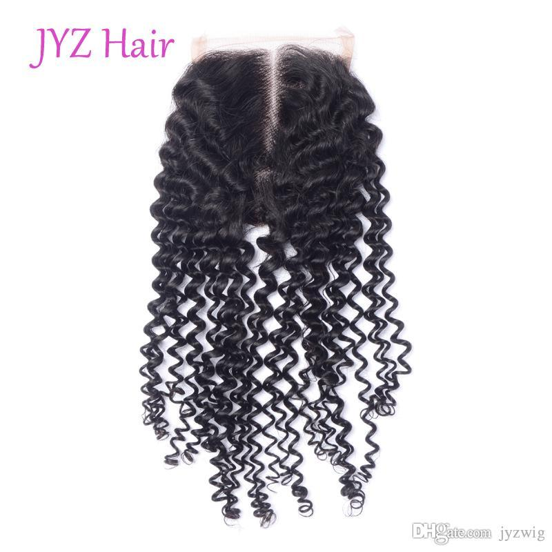 JYZ Best Quality 100% Human Hair Piece Brazilian Indian Peruvian Malaysian Kinky Curly Free Parting Middle Parting Three Part Lace Closures