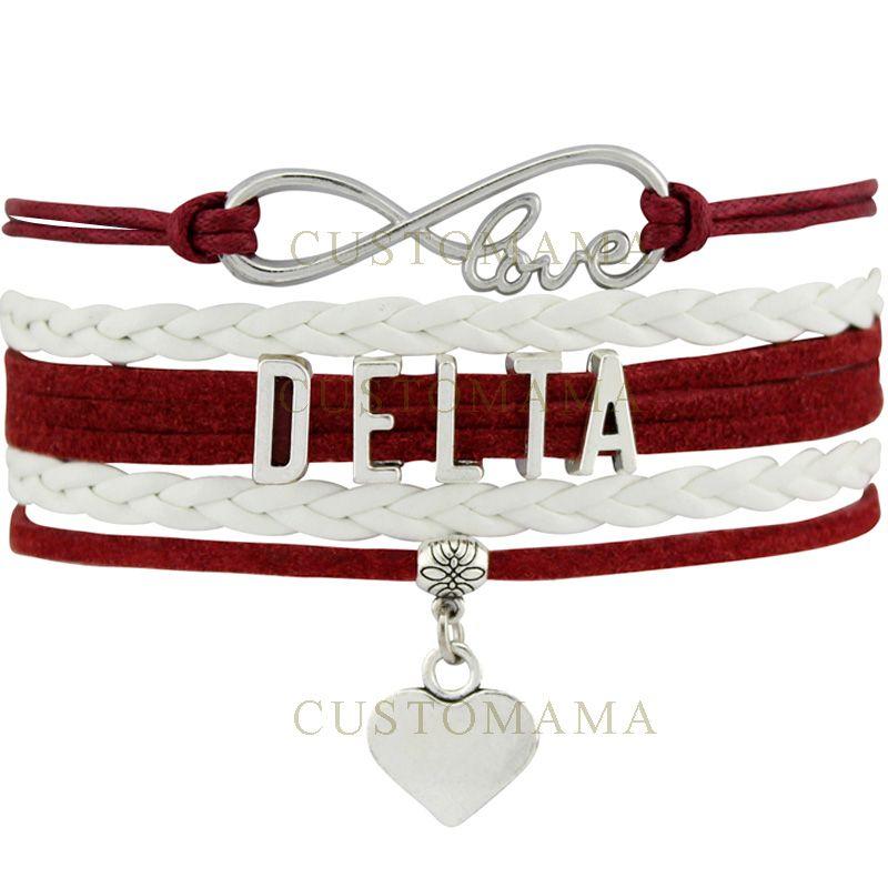 Custom-Infinity Love Delta Heart Charm Women's Wrap Bracelets Best Gift Maroon White Suede Leather Custom any Themes