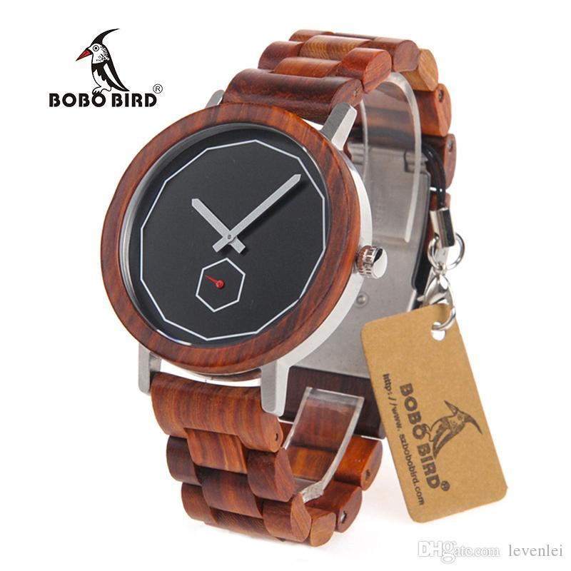 BOBO BIRD M29 Orologi in legno Top Brand orologi da uomo di lusso con cinturino in legno di sandalo rosso Reloje Hombre come miglior regalo per gli amanti e gli amici