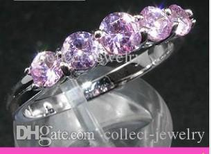 5x4mm Round Cut Pink Sapphire Gem White Gold Ring 7
