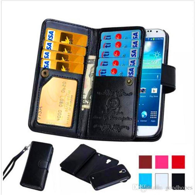 Magnetische herausnehmbare Karte PU-Leder-Mappenkasten Abnehmbare Retro Flip-Cover für iPhone X 8 7 plus 6 6 s plus 5 s Samsung Note 8 s9 s9 plus s8