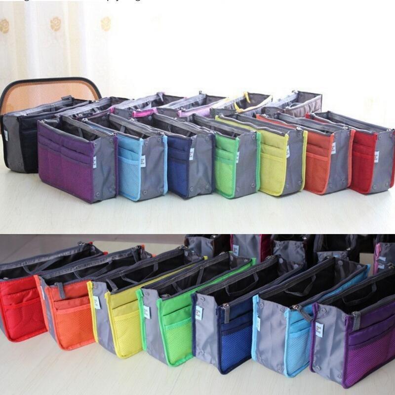 Al por mayor-Nueva Señoras de la manera de la cremallera del bolso pequeño organizador cosmético de las mujeres multi inserto funcional monedero gran bolso de viaje de almacenamiento de maquillaje