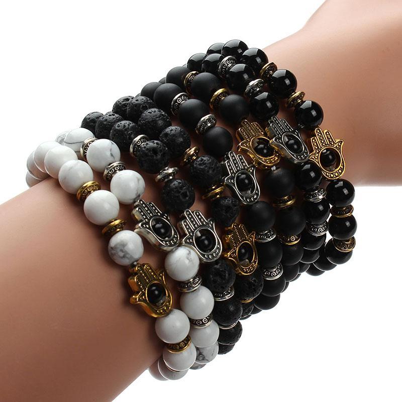 Gros-Drop Shipping !!! 8mm Naturel Noir Lava Energie Pierre Perles Bracelet Or Hamsa Main Charme Bracelet Yoga Mala Bracelets F2830