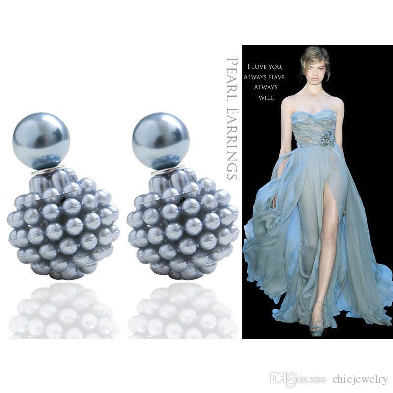 Серьги-гвоздики Модные круглые сережки aros женщины двойные жемчужные зажимы на жемчужные серьги ювелирные изделия Multi-Color ухо хрящевая накладка