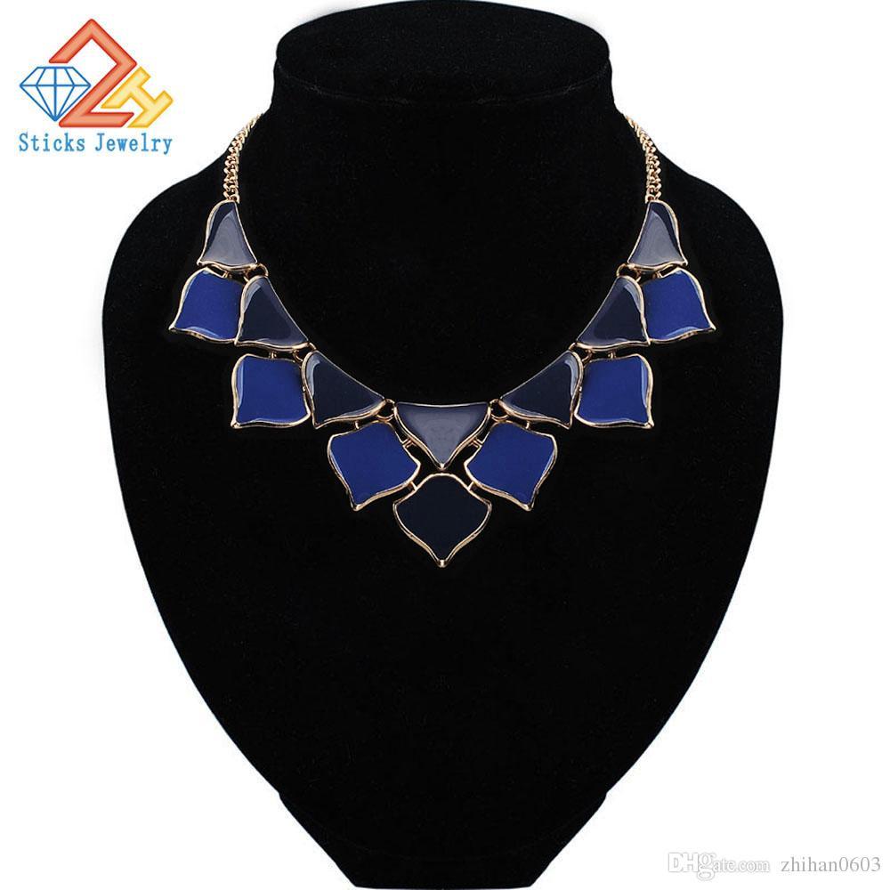 Collana placcata in lega di zinco esagerata della collana del choker di stile della Boemia di stile dei monili di modo Trasporto libero