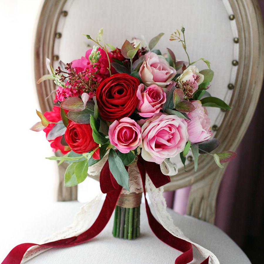 2017 Red Pink Wedding Bridal Bouquet Rose Peony Lu Lotus Bride