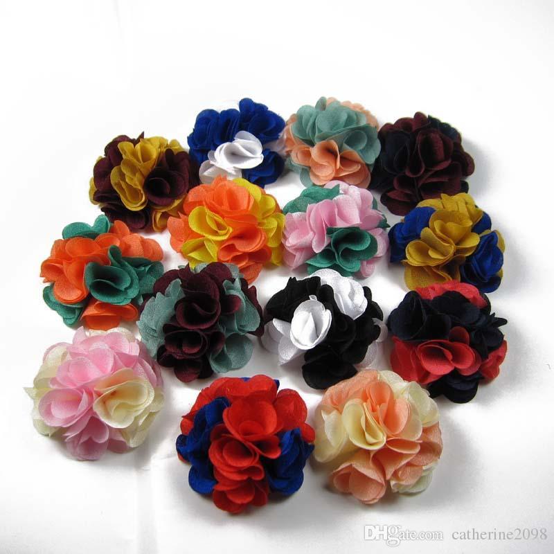 24pcs /ロット2 ''ダブルシルクフラワーバラの花ファッションアクセサリーfabriの花