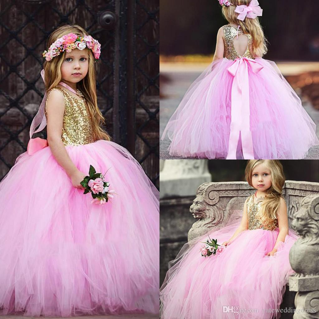 Lovely Pink Tulle And Gold Top Flower Girls Dresses Jewel Sleeveless Girls Pageant Gowns With Sash Open Back Custom Made Party Dresses 2017