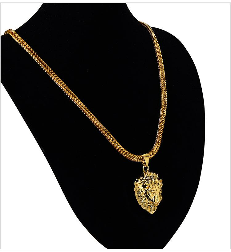 06 hip hop golden lion head pendant necklace