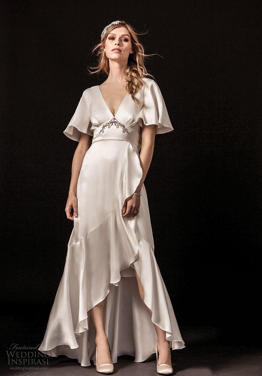 Short white wedding dress bell sleeves