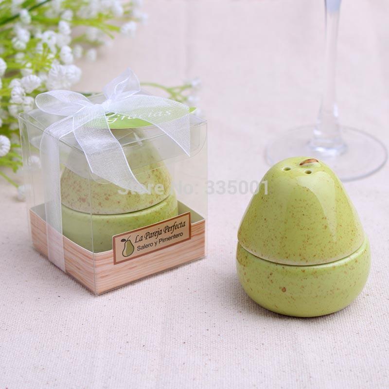 """regalo bomboniera e omaggi per gli ospiti-- """"The Perfect Pair"""" ceramica sale e pepe shaker party favore souvenir 100 pz / lotto"""